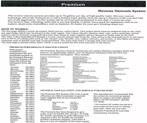 Reverse Osmosis Premium 5 stage 100 GPD         #PREM-WA5